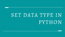 Set Data Type in Python